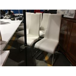 SET OF 8 UPHOLSTERED WHITE BOARDROOM STYLE CHAIRS