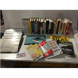 SMALL SHELF LOT OF ASSTD BOOKS/DOCUMENT FRAMES/ERASABLE CALENDARS & MAP BOOKS