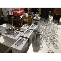SHELF LOT OF ASSTD CHAMPAGNE FLUTES/STAINLESS STEEL CREAMERS/STAINLESS STEEL WATER PITCHERS  ETC.