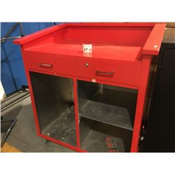 "RED ALUMINUM RECEPTION DESK (ON LARGE CASTERS FOR EASY MOBILITY)  40"" X 46"""