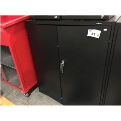 "PROSOURCE BLACK METAL LOCKABLE STORAGE CUPBOARD (WITH KEYS) 36"" X 42.5"" - A"