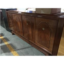 "LOCKABLE WOODEN BUFFET 85""L X 41"" H (DAMAGE ON 2 DOORS)"