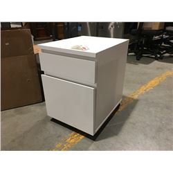 "WHITE SMALL 2-DRAWER CABINET ON WHEELS 16.25 X 20"" X 23.25"""