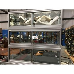 """GROUP OF 3 DISPLAY CASES (36"""" X 18"""" X 12"""") & ASSTD JEWELRY DISPLAY FORMS"""