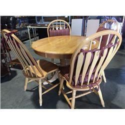"ROUND PINE KITCHEN TABLE WITH HIDDEN LEAF (41"" DIAMETER) & 4 PINE CHAIRS"