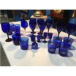 SHELF LOT OF ASSTD COBALT BLUE STEMWARE & GLASS WARE