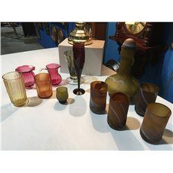 SHELF LOT OF ASSTD GLASSES, VASE, CANDLE HOLDER ETC.