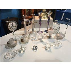 SHELF LOT OF ASSTD GLASSWARE - CANDLE HOLDERS/RING HOLDER/CRYSTAL FIGURINES/ SINGLE ROSE BUD VASE