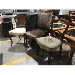 3 VICTORIAN STYLE CHAIRS (2 WITH UPHOLSTERED SEATS & 1 WITH UPHOLSTERED SEAT & BACK)