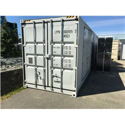 40' CUBE TWO MULTI-DOOR CONTAINER - 2 SIDE OPEN DOORS, 1 END DOOR, LOCK BOX & SIDE FORKLIFT POCKETS