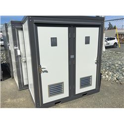 BASTONE 110V PORTABLE TOILET WITH DOUBLE CLOSETS (APPROX 4' X 7' X 7.5')