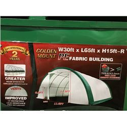 GOLD MOUNT - S306515P-PE DOME STORAGE SHELTER - SNOW RATING 180KG C/W 30' X 65' X15' DOME ROOF