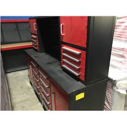 STEELMAN 7' WORK BENCH WITH 18 DRAWERS WITH LOCKS & ANTI-SLIP LINERS - USING NEW 3-RAIL SLIDING - A