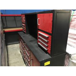 STEELMAN 7' WORK BENCH WITH 18 DRAWERS WITH LOCKS & ANTI-SLIP LINERS - USING NEW 3-RAIL SLIDING - B
