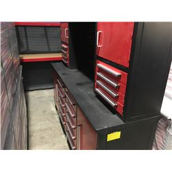STEELMAN 7' WORK BENCH WITH 18 DRAWERS WITH LOCKS & ANTI-SLIP LINERS - USING NEW 3-RAIL SLIDING - C