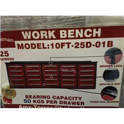 STEELMAN 10' WORK BENCH WITH 25' DRAWERS (RED) WITH LOCKS & ANTI-SLIP LINERS - USING NEW 3-RAIL