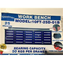 STEELMAN 10' WORK BENCH WITH 25' DRAWERS (BLUE) WITH LOCKS & ANTI-SLIP LINERS - USING NEW 3-RAIL