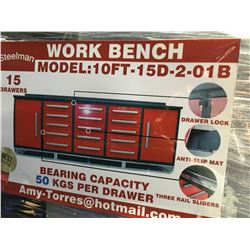 STEELMAN 10' WORK BENCH WITH 15' DRAWERS & 2 CABINETS (RED) WITH LOCKS & ANTI-SLIP LINERS - USING