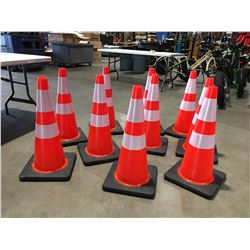 "10 X SAFETY HIGHWAY CONES 28"" HIGH - A"