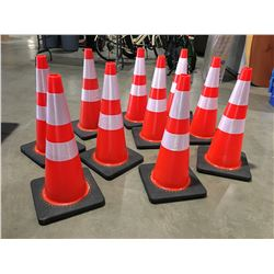 "10 X SAFETY HIGHWAY CONES 28"" HIGH- B"