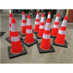 "10 X SAFETY HIGHWAY CONES 28"" HIGH - C"