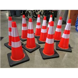 "10 X SAFETY HIGHWAY CONES 28"" HIGH - D"
