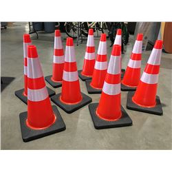 "10 X SAFETY HIGHWAY CONES 28"" HIGH - E"