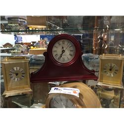 WESTCLOX WOODEN MANTLE CLOCK WITH 2 WESTERN GERMANY BATTERY OPERATED CLOCKS