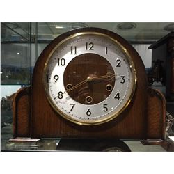 SMITH'S WESTMINSTER CHIME OAK MANTLE CLOCK - SILENT CHIME OPTION - CIRCA 1930'S