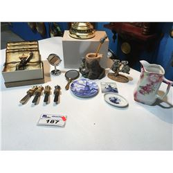 SHELF LOT OF ASSTD ITEMS INCLUDES: GERMAN MILK PITCHER, SET OF CHEESE PLATES WITH SPREAD KNIVES ETC