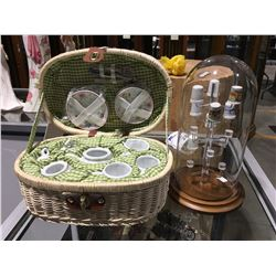 MINIATURE PICNIC BASKET WITH MINIATURE GLASS TABLE SETTINGS & THIMBLE DISPLAY DOMED RACK WITH  9