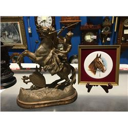 SPELTER MANTLE FIGURINE & SMALL HORSE PICTURE