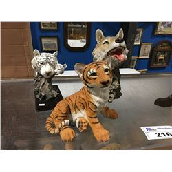 HUNTER ARTS NUMBERED SAND CAST STATUES (BABY TIGER H22571, WOLF HEAD H20372N & WHITE TIGER HEAD