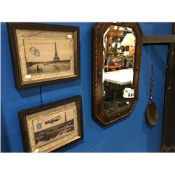 "2 ANTIQUE LOOKING FRAMED PARIS POSTCARD PICTURES, ANTIQUE WOODEN WALL MIRROR (APPROX 25"" X  17"") &"