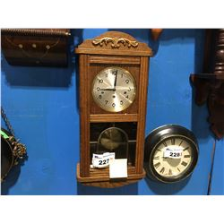 OAK FINISH GERMAN MADE WESTMINSTER 1/4 HOUR CHIME WALL CLOCK - CIRCA 1980'S