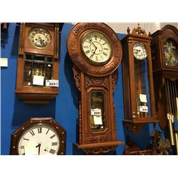 LARGE REPRODUCTION ANTIQUE CLOCK KOREAN MADE 31 DAY WALL CLOCK - CIRCA 1990'S