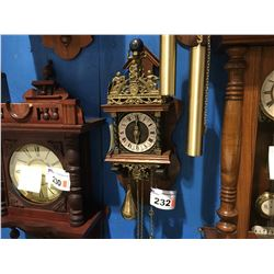 OAK FINISH DUTCH CLOCK - 2 WEIGHT SYSTEM - TIME & STRIKE ON BELL - CIRCA 1960'S