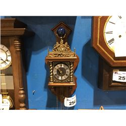 NUT-WOOD FINISH - DUTCH WALL CLOCK - 2-WEIGHTS TIME & STRIKE ON BELL