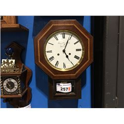 REPRODUCTION FRENCH WALL CLOCK - PORCELAIN DIAL - GERMAN MOVEMENT - CIRCA 1980'S
