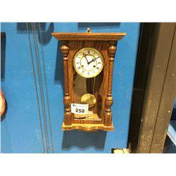 SOLID OAK CASE - GERMAN MOVEMENT TIME & STRIKE WALL CLOCK - CIRCA 1990'S