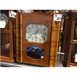 """FRENCH """"ART DECO"""" WALL CLOCK - WESTMINSTER 1/4 HOUR CHIME - CIRCA 1920'S"""