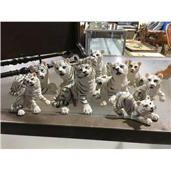 GROUP OF WHITE TIGER FIGURINES (APPROX 9 PCE)
