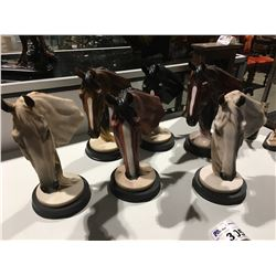 GROUP OF 6 HORSE HEAD FIGURINES