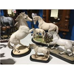 GROUP OF 4 HORSE ORNAMENTS