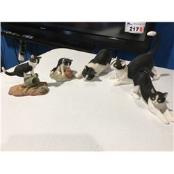 GROUP OF 5 BLACK & WHITE CAT FIGURINES