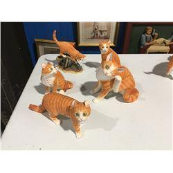 GROUP OF 5 ORANGE TABBY CAT FIGURINES