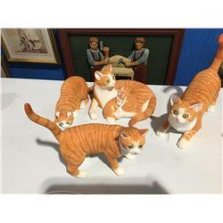 GROUP OF 4 ORANGE TABBY CAT FIGURINES