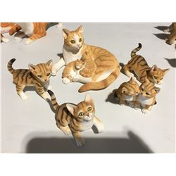 GROUP OF 5 TABBY CAT FIGURINES