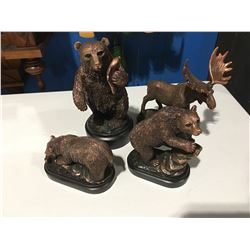 """GROUP OF 4 BRONZED FIGURINES (3 BEAR - ONE IS 8.5"""" & A MOOSE)"""