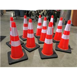 """10 X SAFETY HIGHWAY CONES 28"""" HIGH - B"""